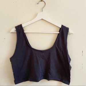 Missguided Simple Gray Cotton Crop Tank Top
